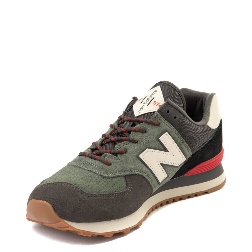 Mens New Balance 574 Athletic Shoe - Olive / Black / Red