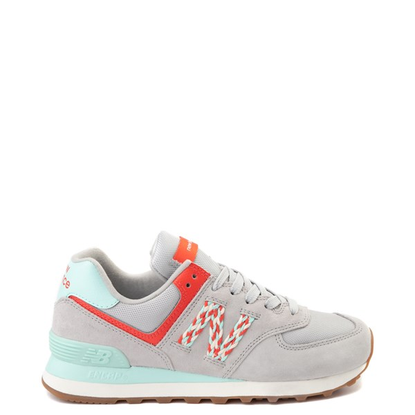 Womens New Balance 574 Athletic Shoe - Gray / Coral / Turquoise
