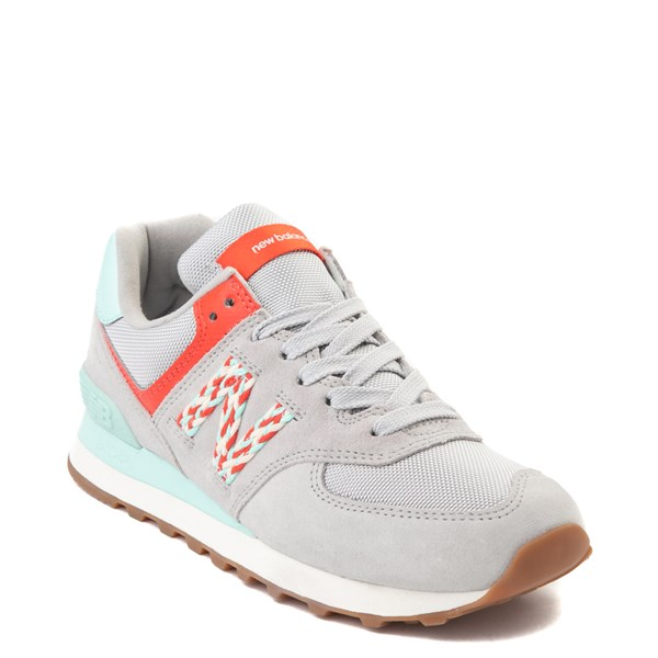 alternate view Womens New Balance 574 Athletic Shoe - Gray / Coral / TurquoiseALT1