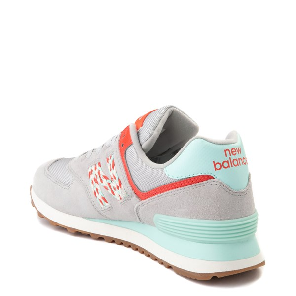 alternate view Womens New Balance 574 Athletic Shoe - Gray / Coral / TurquoiseALT2