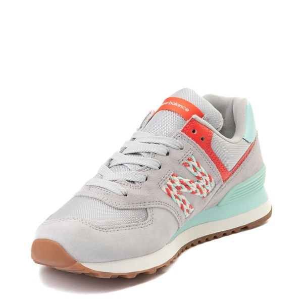 alternate view Womens New Balance 574 Athletic Shoe - Gray / Coral / TurquoiseALT3