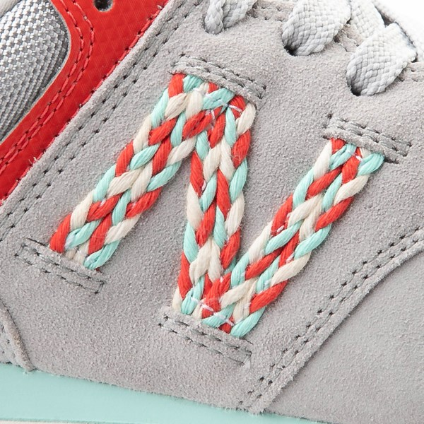 alternate view Womens New Balance 574 Athletic Shoe - Gray / Coral / TurquoiseALT6