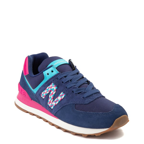 Alternate view of Womens New Balance 574 Athletic Shoe - Navy / Pink / Light Blue