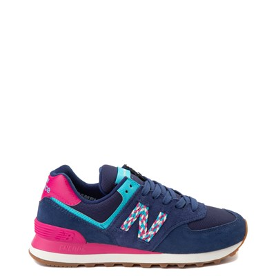 Main view of Womens New Balance 574 Athletic Shoe - Navy / Pink / Light Blue