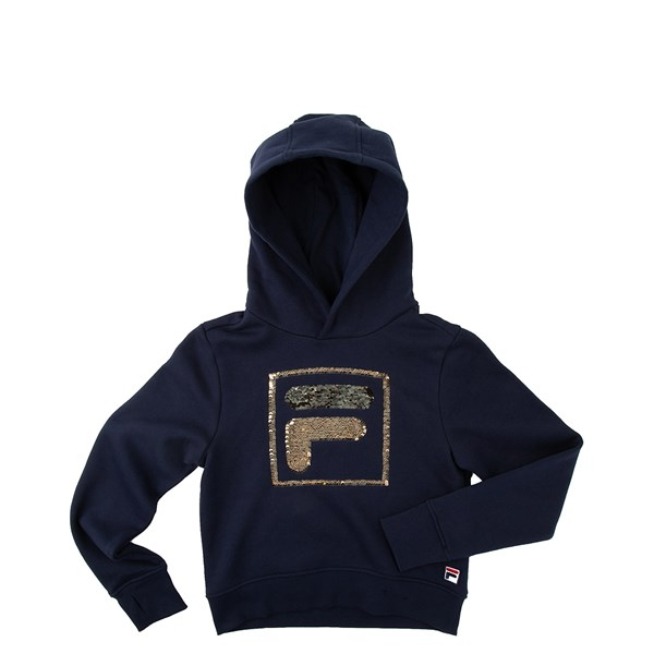 Fila Sequin Flip Hoodie - Little Kid / Big Kid - Navy