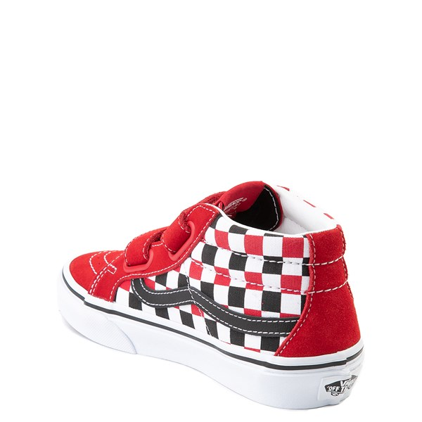 alternate view Vans Sk8 Mid Reissue V Checkerboard Skate Shoe - Little Kid / Big Kid - Red / Black / WhiteALT2