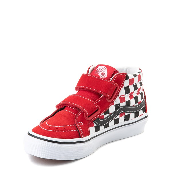 alternate view Vans Sk8 Mid Reissue V Checkerboard Skate Shoe - Little Kid / Big Kid - Red / Black / WhiteALT3