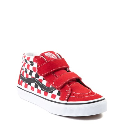 Alternate view of Vans Sk8 Mid Reissue V Checkerboard Skate Shoe - Little Kid / Big Kid - Red / Black / White