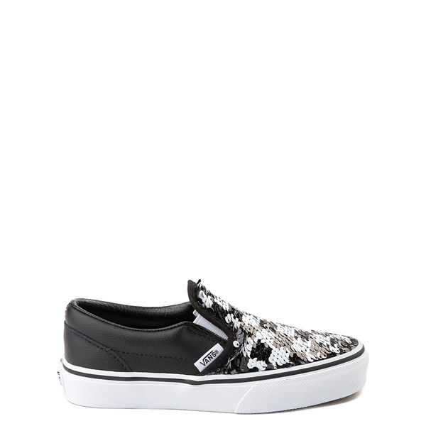 Alternate view of Vans Slip On Flipping Sequins Skate Shoe - Little Kid / Big Kid - Black / White