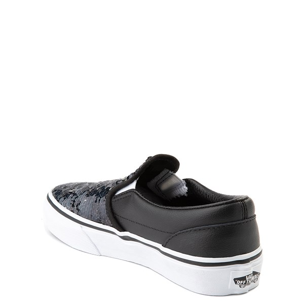 alternate view Vans Slip On Flipping Sequins Skate Shoe - Little Kid / Big Kid - Black / WhiteALT2