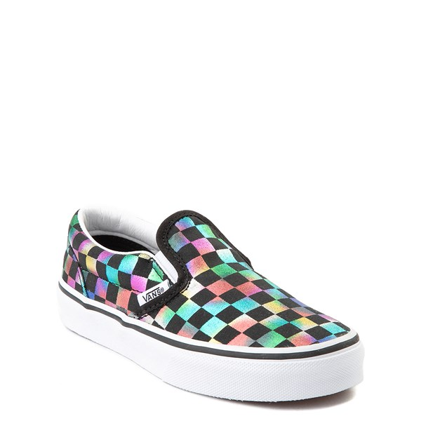 alternate view Vans Slip On Iridescent Checkerboard Skate Shoe - Little Kid / Big Kid - Black / MultiALT1