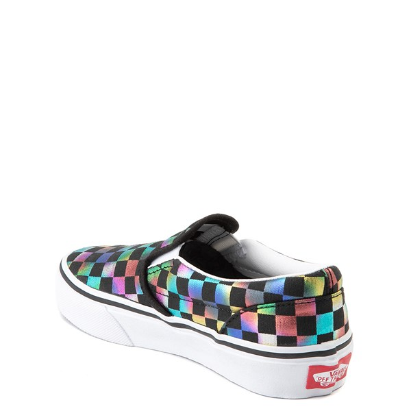alternate view Vans Slip On Iridescent Checkerboard Skate Shoe - Little Kid / Big Kid - Black / MultiALT2