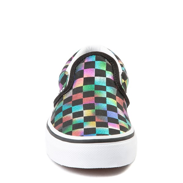 alternate view Vans Slip On Iridescent Checkerboard Skate Shoe - Little Kid / Big Kid - Black / MultiALT4