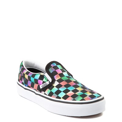 Alternate view of Vans Slip On Iridescent Checkerboard Skate Shoe - Little Kid / Big Kid - Black / Multi