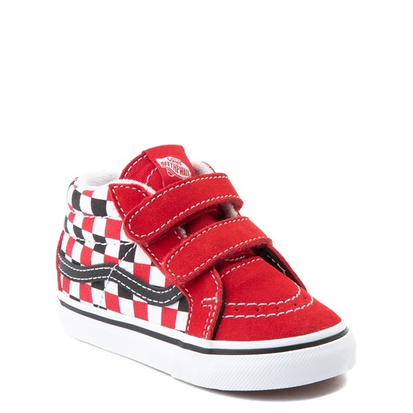 alternate view Vans Sk8 Mid Reissue V Checkerboard Skate Shoe - Baby / Toddler - Red / Black / WhiteALT1