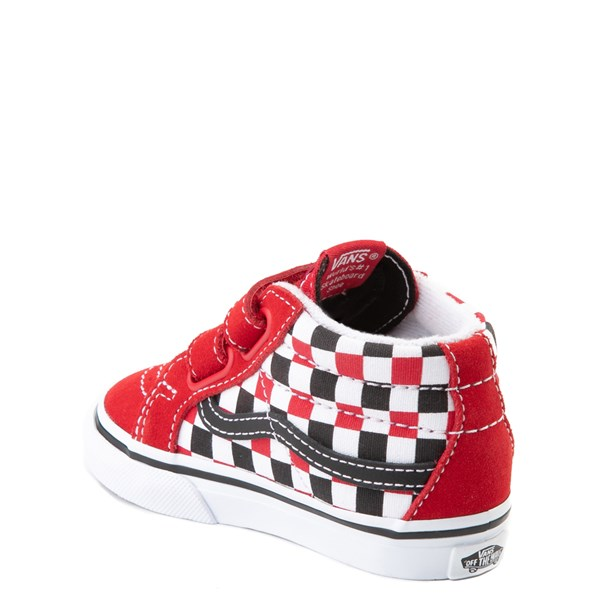 alternate view Vans Sk8 Mid Reissue V Checkerboard Skate Shoe - Baby / Toddler - Red / Black / WhiteALT2