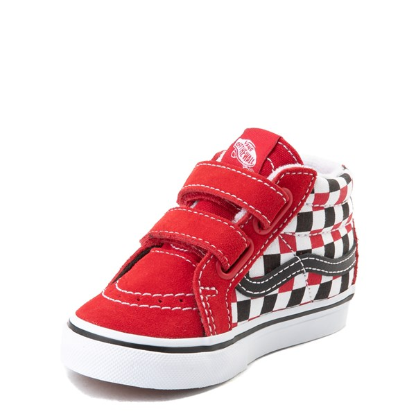 alternate view Vans Sk8 Mid Reissue V Checkerboard Skate Shoe - Baby / Toddler - Red / Black / WhiteALT3