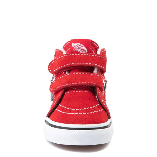 alternate view Vans Sk8 Mid Reissue V Checkerboard Skate Shoe - Baby / Toddler - Red / Black / WhiteALT4