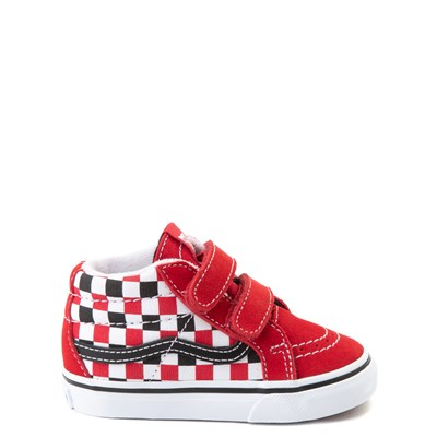 Main view of Vans Sk8 Mid Reissue V Checkerboard Skate Shoe - Baby / Toddler - Red / Black / White
