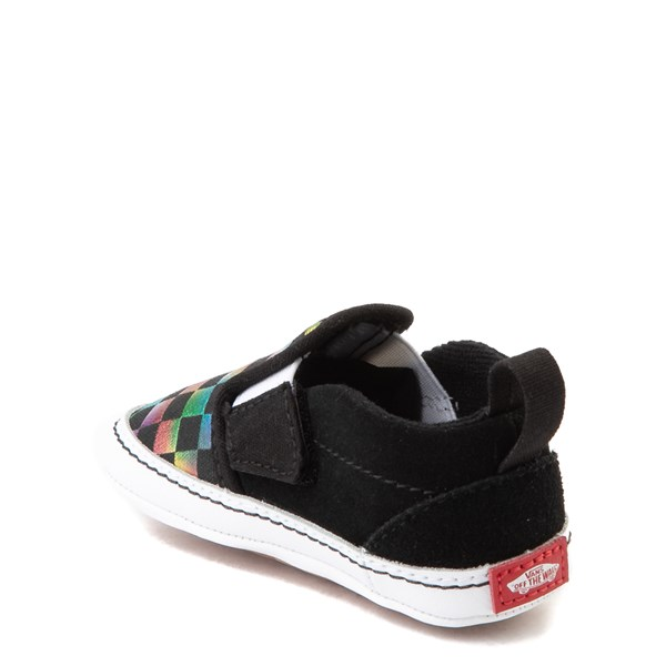 alternate view Vans Slip On V Iridescent Checkerboard Skate Shoe - Baby - Black / MultiALT2