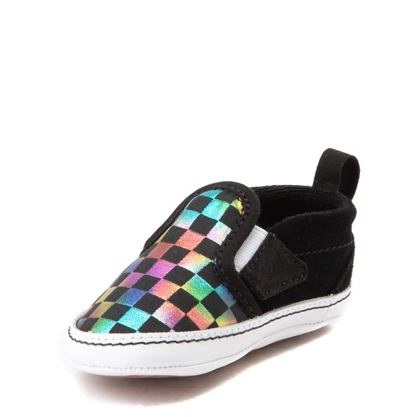 alternate view Vans Slip On V Iridescent Checkerboard Skate Shoe - Baby - Black / MultiALT3