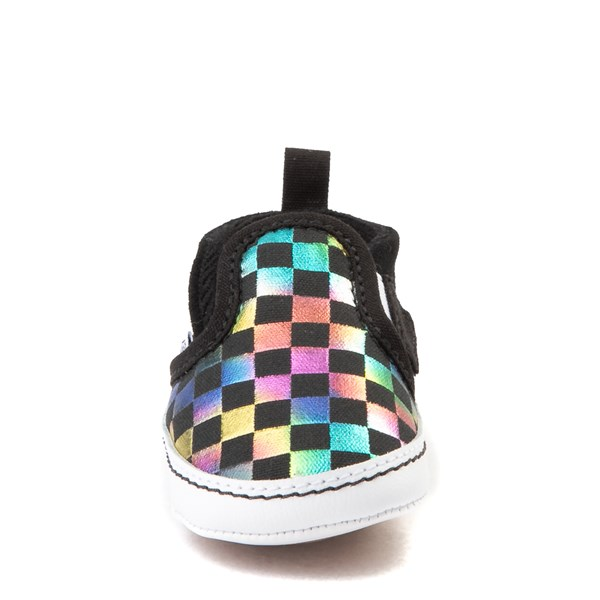 alternate view Vans Slip On V Iridescent Checkerboard Skate Shoe - Baby - Black / MultiALT4
