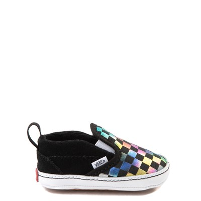 Main view of Vans Slip On V Iridescent Checkerboard Skate Shoe - Baby - Black / Multi