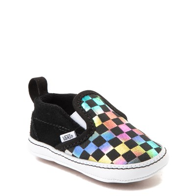 Alternate view of Vans Slip On V Iridescent Checkerboard Skate Shoe - Baby - Black / Multi