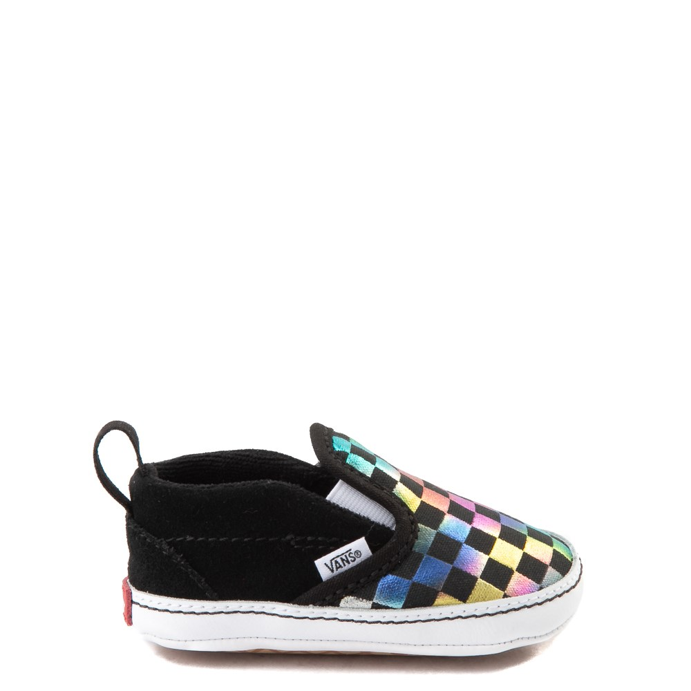 Vans Slip On V Iridescent Checkerboard Skate Shoe - Baby - Black / Multi