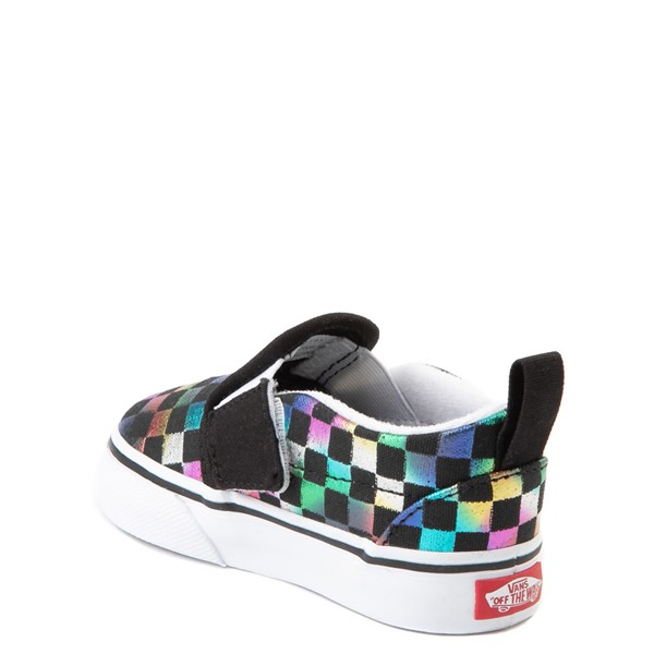 alternate view Vans Slip On Iridescent Checkerboard Skate Shoe - Baby / Toddler - Black / MultiALT1