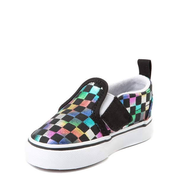 alternate view Vans Slip On Iridescent Checkerboard Skate Shoe - Baby / Toddler - Black / MultiALT2