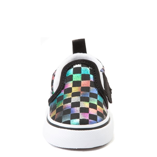 alternate view Vans Slip On Iridescent Checkerboard Skate Shoe - Baby / Toddler - Black / MultiALT4