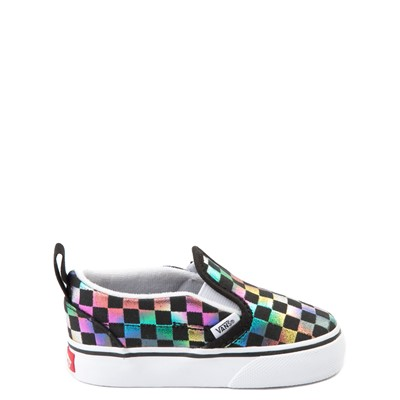 Main view of Vans Slip On Iridescent Checkerboard Skate Shoe - Baby / Toddler - Black / Multi