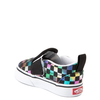 Alternate view of Vans Slip On Iridescent Checkerboard Skate Shoe - Baby / Toddler - Black / Multi