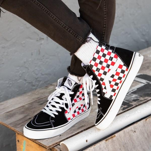 alternate view Vans Sk8 Hi Checkerboard Skate Shoe - Black / Red / WhiteC-HERO1