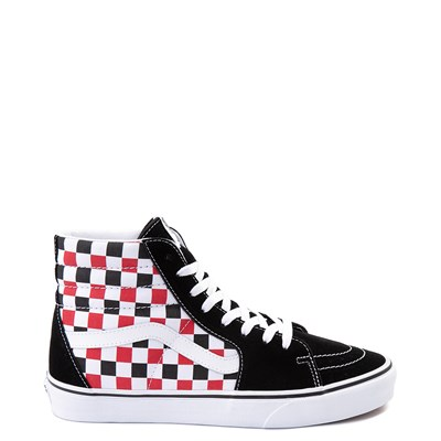 Main view of Vans Sk8 Hi Checkerboard Skate Shoe - Black / Red / White