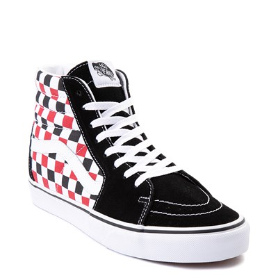 Alternate view of Vans Sk8 Hi Checkerboard Skate Shoe - Black / Red / White