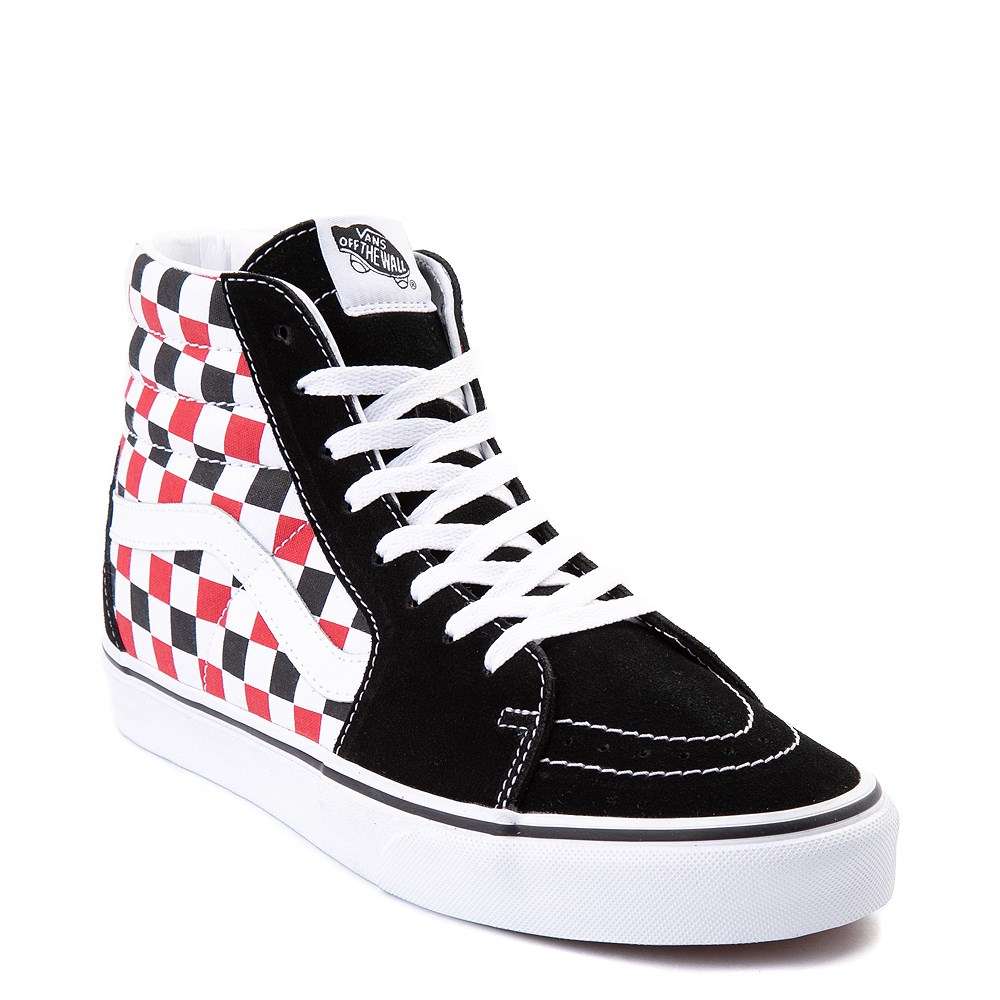 Vans Sk8 Hi Checkerboard Skate Shoe - Black / Red / White