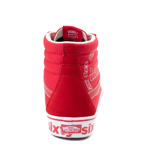 alternate view Vans Sk8 Hi ComfyCush® Distort Skate Shoe - Red / WhiteALT6