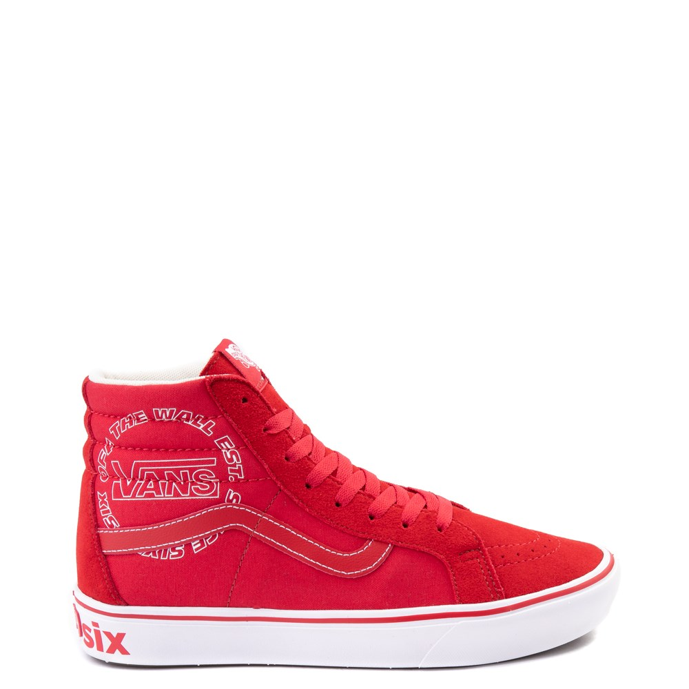 Vans Sk8 Hi ComfyCush® Distort Skate Shoe - Red / White