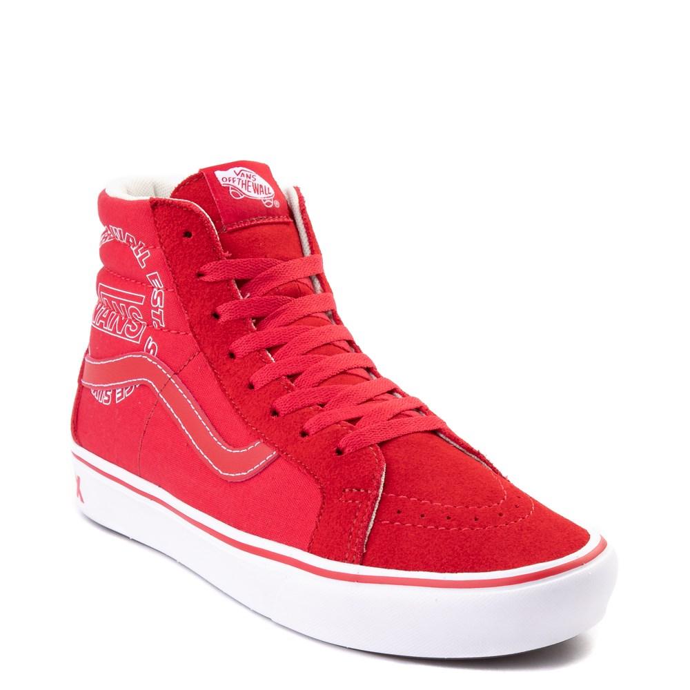 Vans Sk8 Hi ComfyCush® Distort Skate Shoe Red White