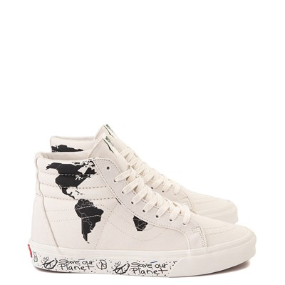 "Main view of Vans Sk8 Hi ""Save Our Planet"" Skate Shoe - White / Black"