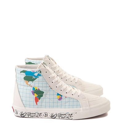 "Main view of Vans Sk8 Hi ""Save Our Planet"" Skate Shoe - White / Multi"