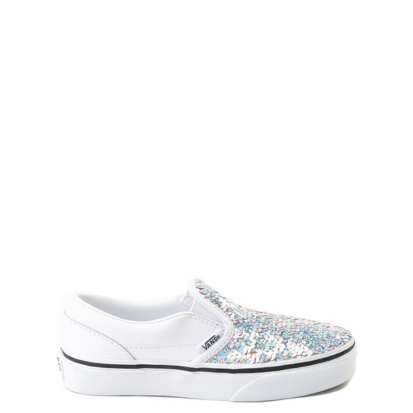 Vans Slip On Flipping Sequins Skate Shoe - Little Kid / Big Kid - White / Pink