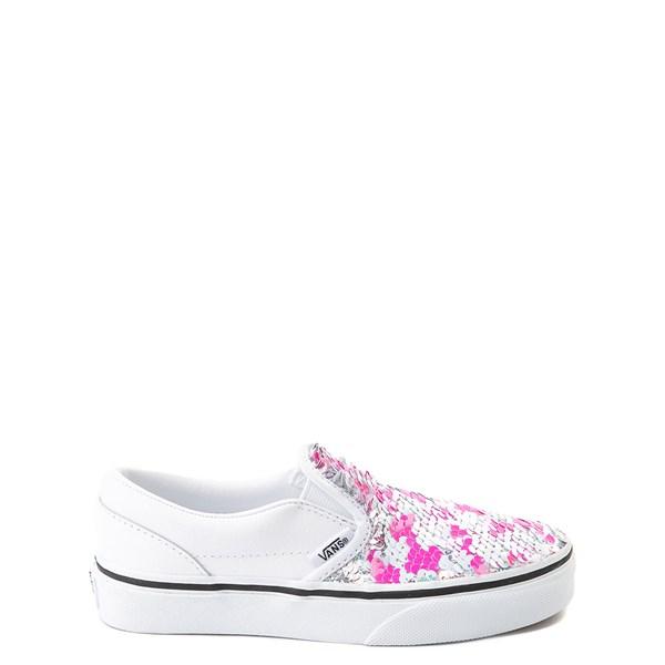 Alternate view of Vans Slip On Flipping Sequins Skate Shoe - Little Kid / Big Kid - White / Pink