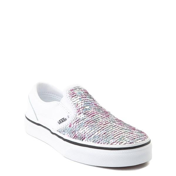 alternate view Vans Slip On Flipping Sequins Skate Shoe - Little Kid / Big Kid - White / PinkALT1B