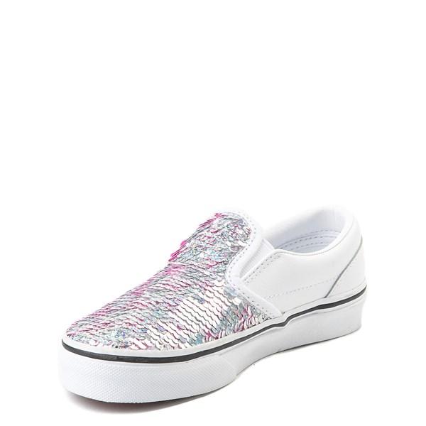 alternate view Vans Slip On Flipping Sequins Skate Shoe - Little Kid / Big Kid - White / PinkALT3