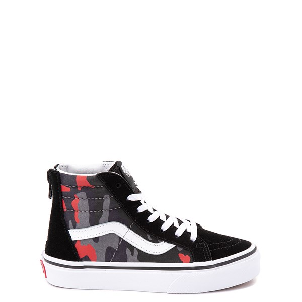 Vans Sk8 Hi Zip Skate Shoe - Little Kid / Big Kid - Black / Red Camo