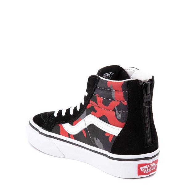 alternate view Vans Sk8 Hi Zip Skate Shoe - Little Kid / Big Kid - Black / Red CamoALT2