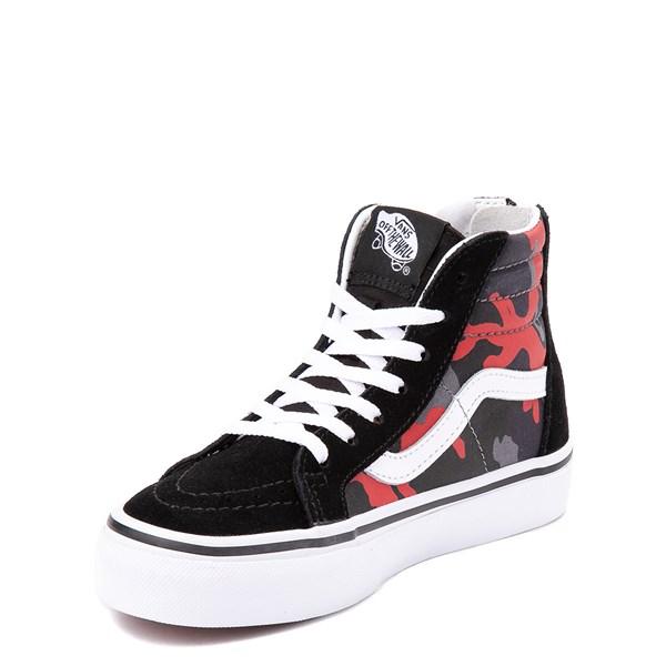 alternate view Vans Sk8 Hi Zip Skate Shoe - Little Kid / Big Kid - Black / Red CamoALT3